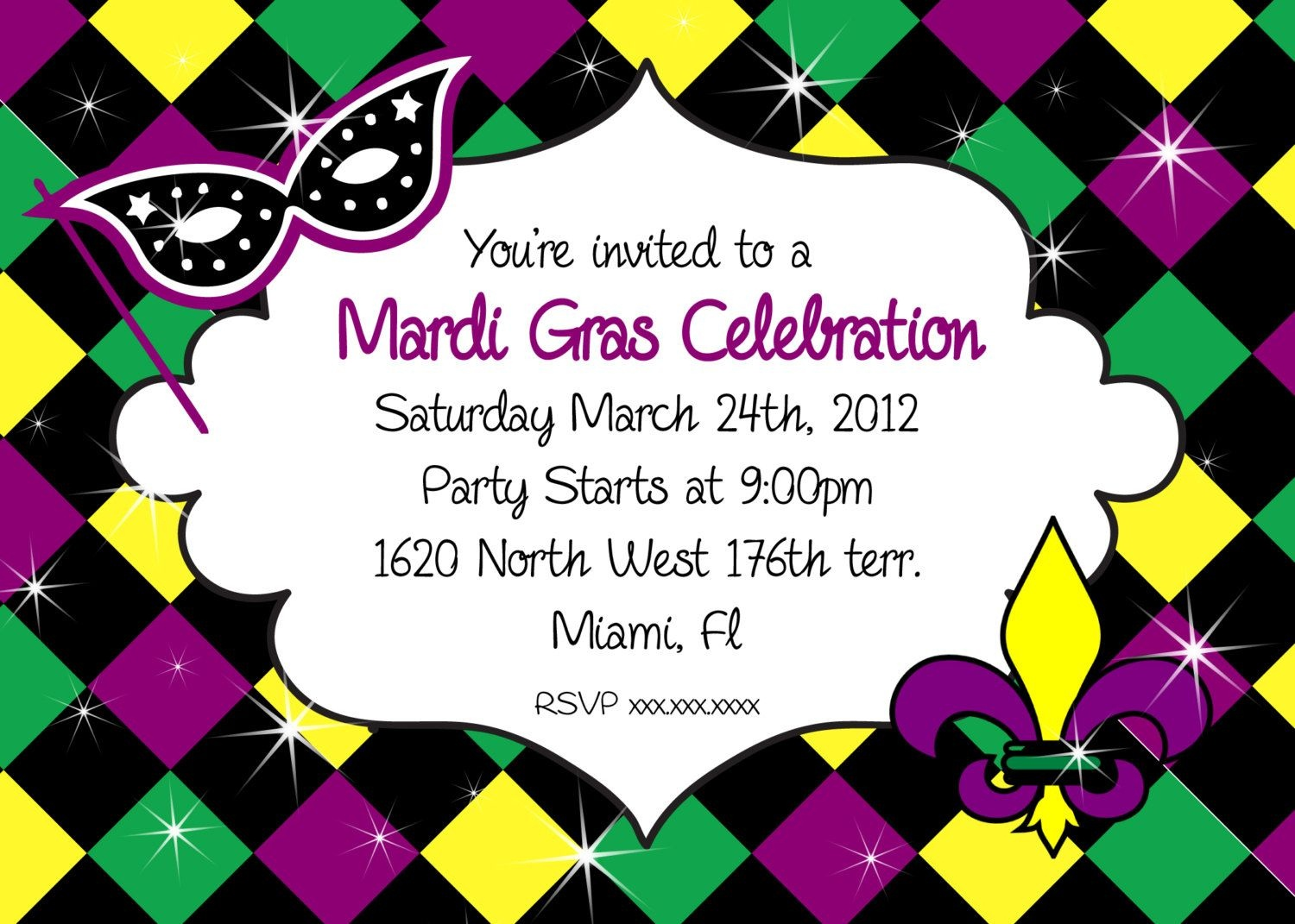 Mardi Gras Party Invitations - Cloudinvitation | Mardi Gras - Free Printable Mardi Gras Invitations