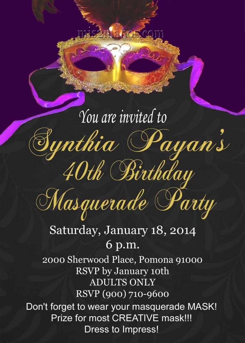 Masquerade Party Mardi Gras Invitations Printable Print At | Etsy - Free Printable Mardi Gras Invitations