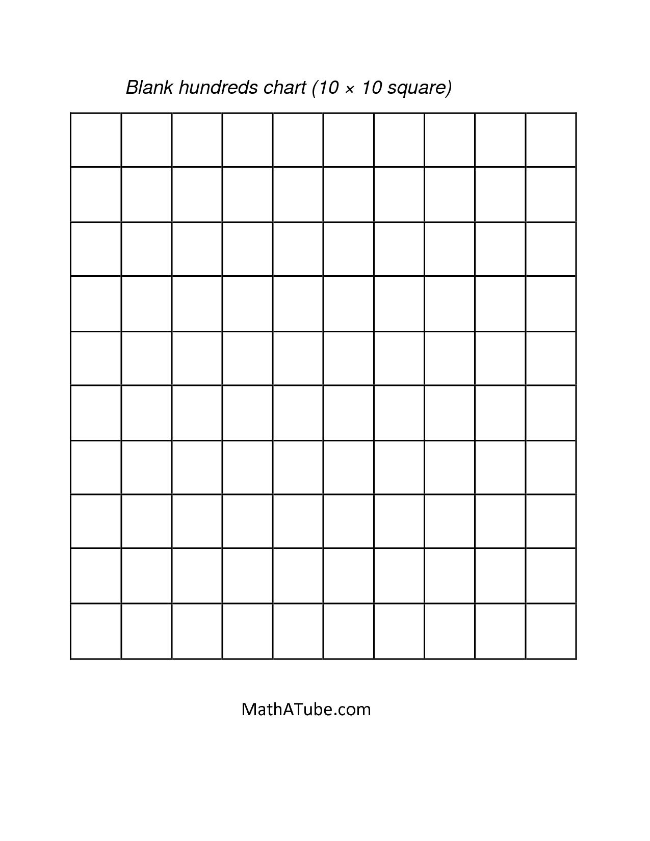 Math : Blank Hundreds Chart Blank Hundreds Chart To 50. Blank - Free Printable Hundreds Grid