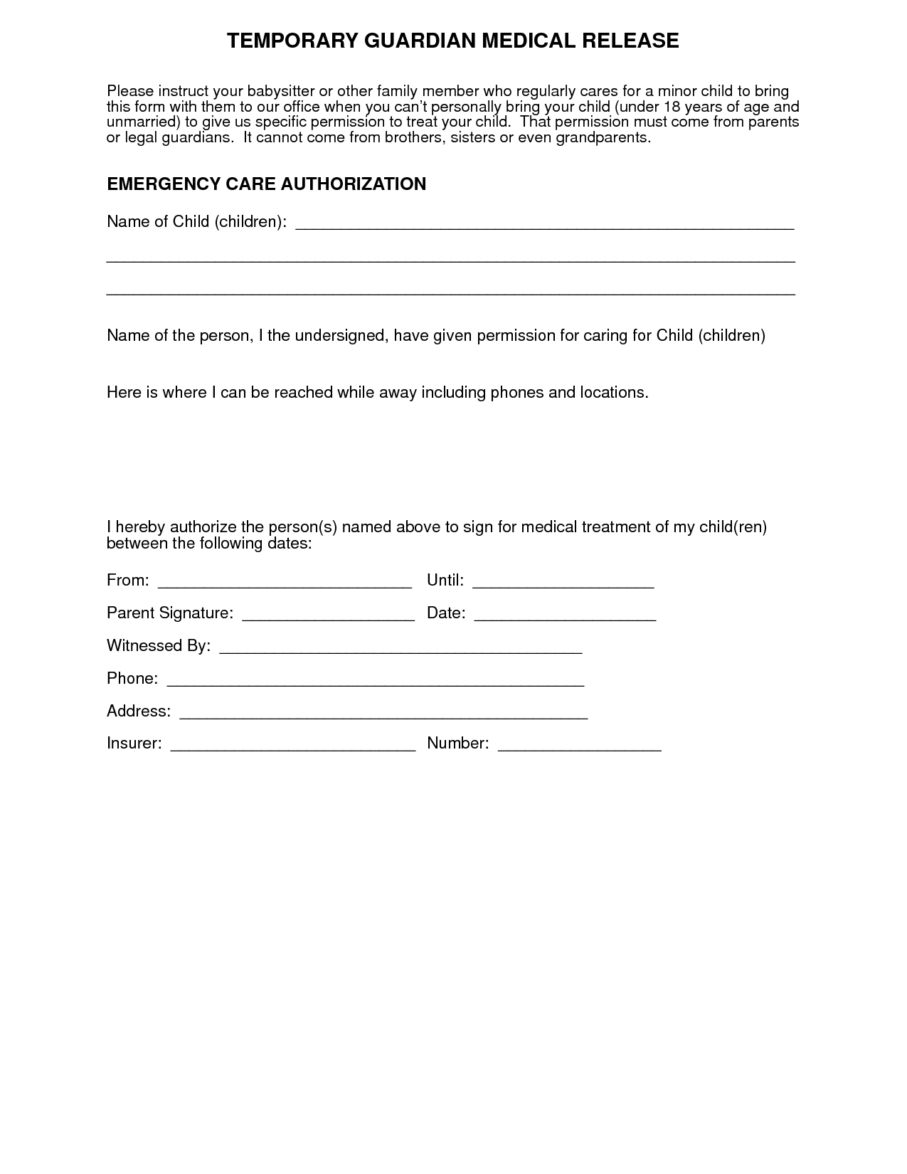 Medical+Authorization+Form+For+Grandparents | For More Medical - Free Printable Medical Forms Kit