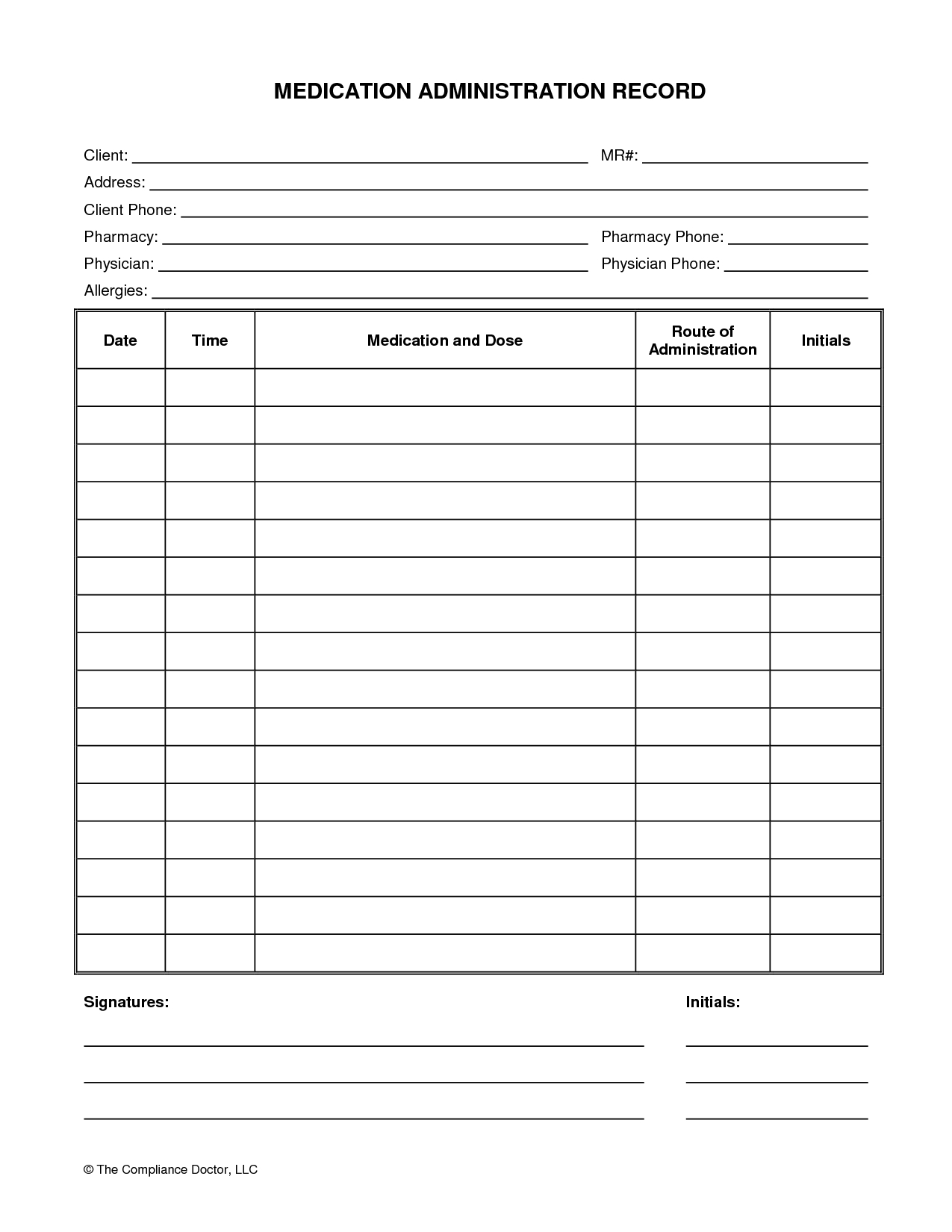 Medication Administration Record Form | Organization | Medication - Free Printable Medication List Template
