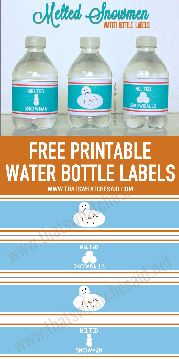 Melted Snowman Water Bottle Labels   Printables   Printable Water - Christmas Water Bottle Labels Free Printable