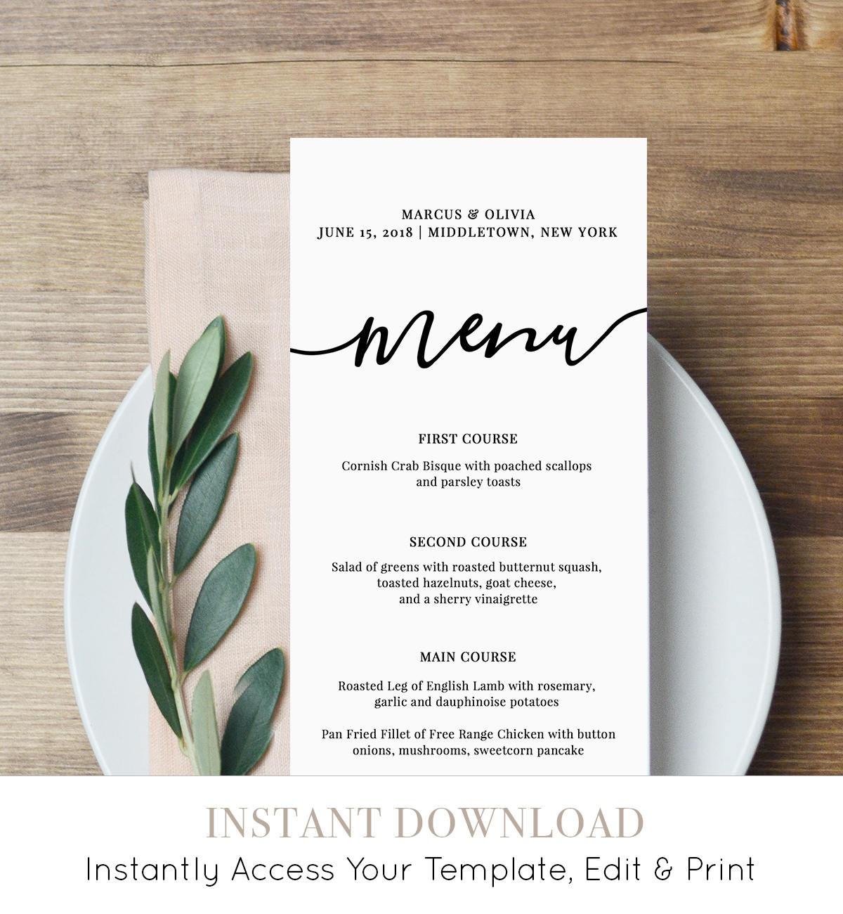 Menu Card Template, Printable Wedding Menu, Modern Calligraphy - Free Printable Wedding Menu Card Templates