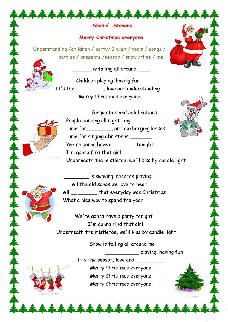 Merry Christmas Everyone Song Worksheet - Free Esl Printable - Christmas Song Lyrics Game Free Printable