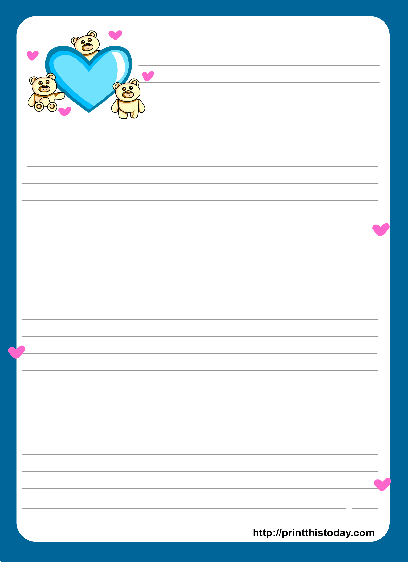 Miss You Love Letter Pad Stationery | Lined Stationery | Free - Free Printable Love Letter Paper