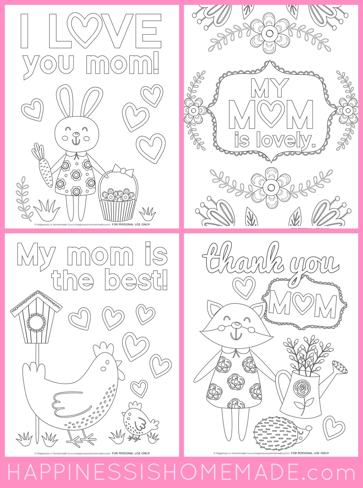 Mother's Day Coloring Pages - Free Printables - Happiness Is Homemade - Free Printable Mothers Day Coloring Cards