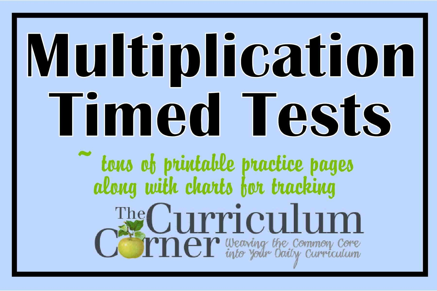 Multiplication Timed Tests - The Curriculum Corner 123 - Free Printable Multiplication Speed Drills