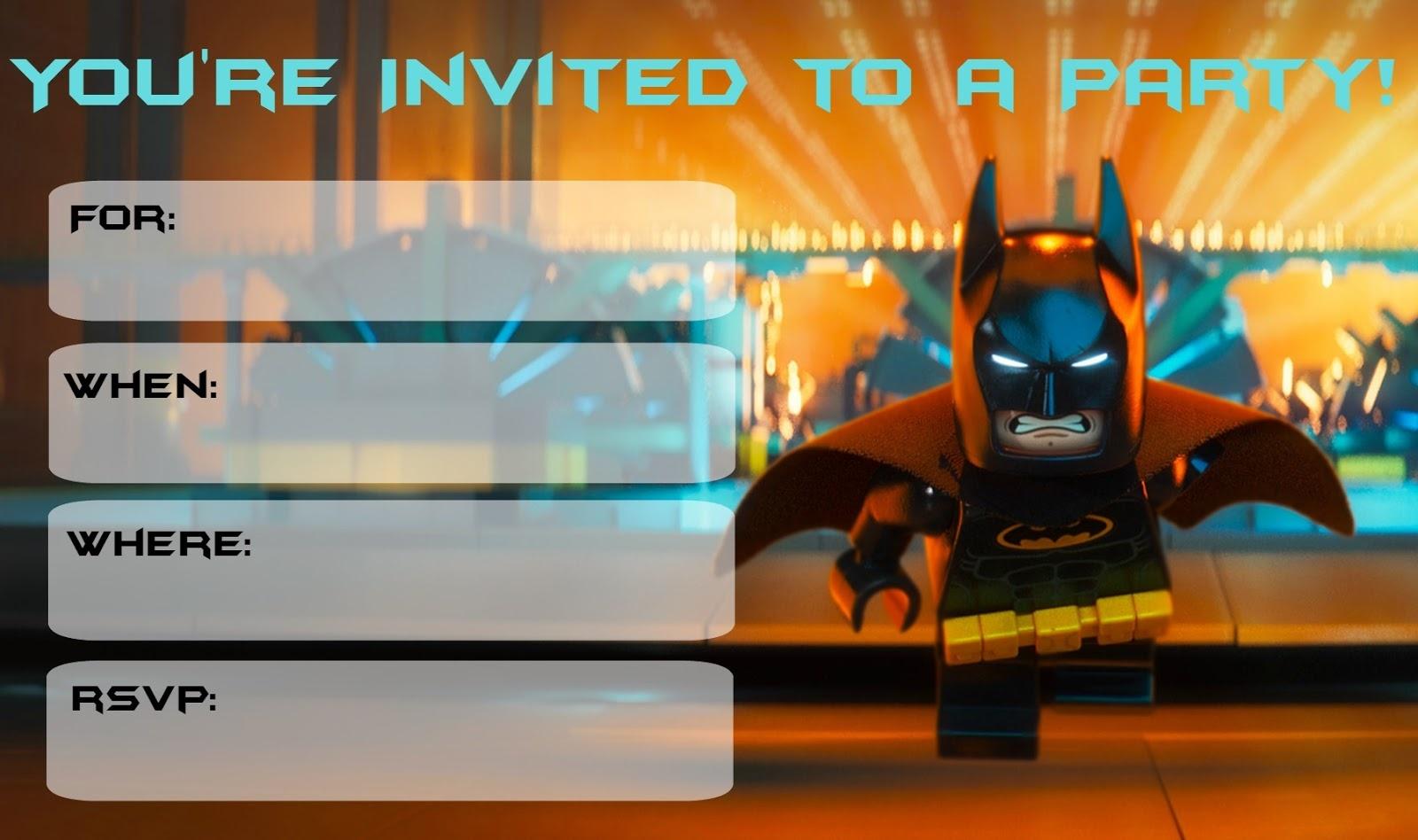Musings Of An Average Mom: More Lego Batman Party Invitations - Free Printable Lego Batman