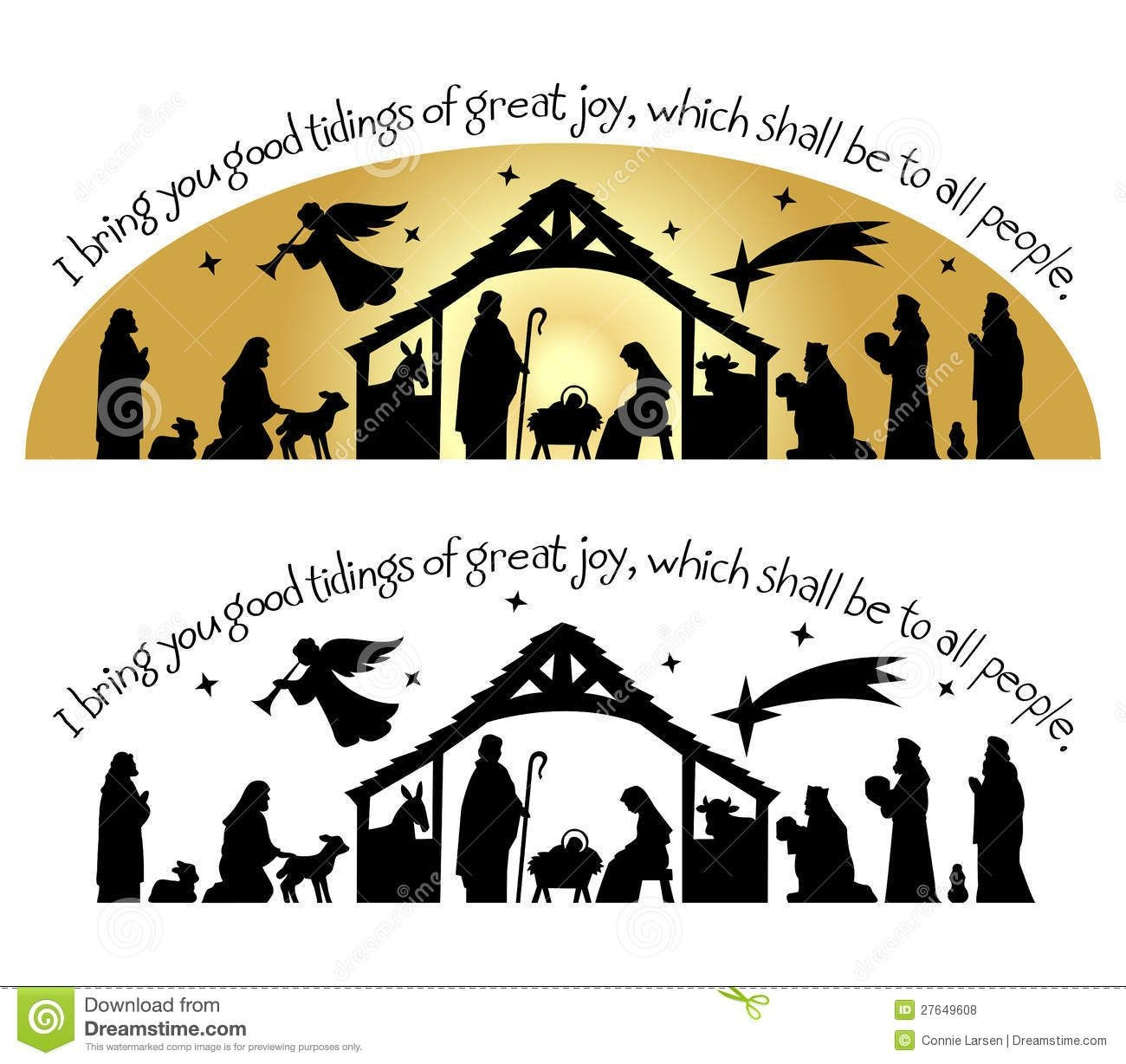 Nativity Christmas Silhouette/eps - Download From Over 27 Million - Free Printable Nativity Silhouette