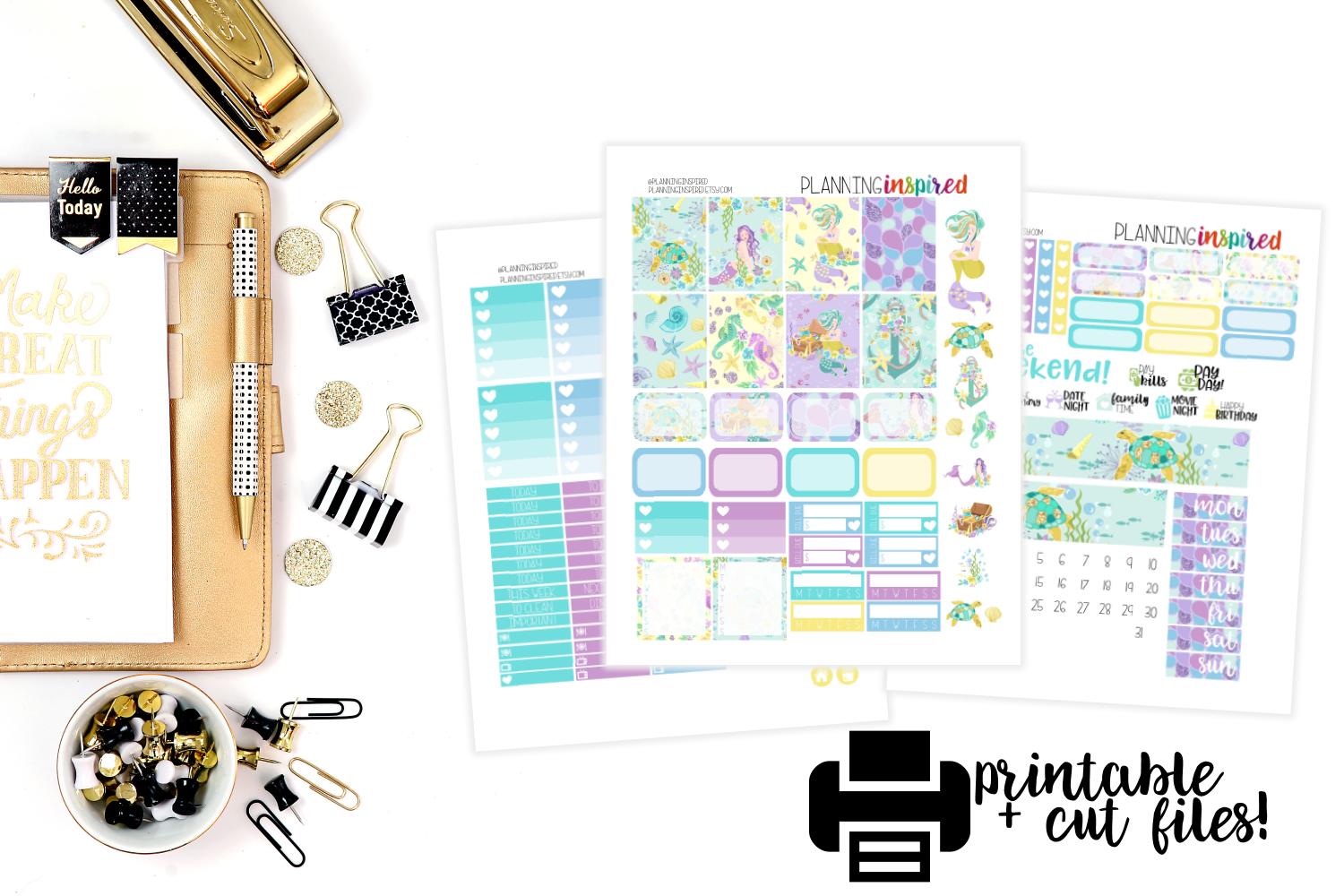 New Free Printable Weekly Sticker Kit- Mermaids! - Planning Inspired - Printable Erin Condren Stickers Free