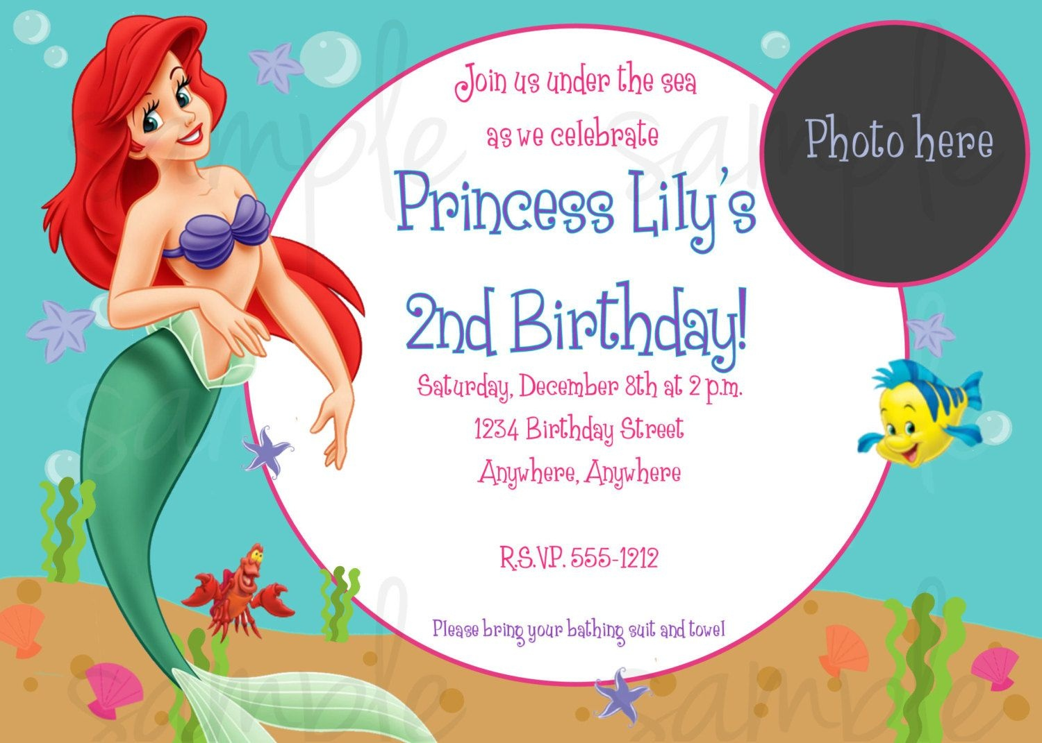 Nice Free Printable Birthday Invitations - Ariel Mermaid | Bagvania - Free Little Mermaid Printable Invitations