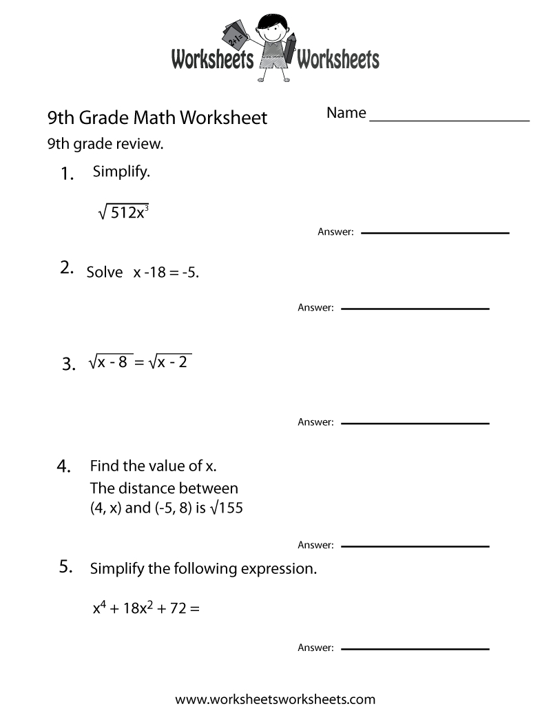 Ninth Grade Math Practice Worksheet Printable | Teaching | Math - Free Printable Worksheets For Highschool Students