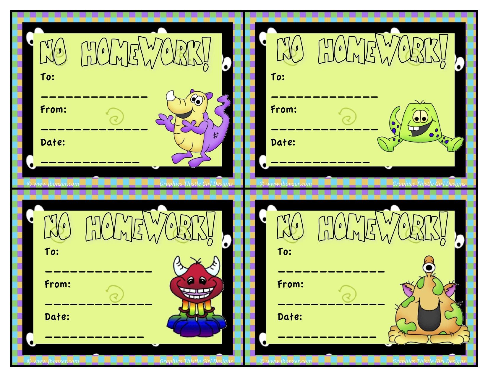 No Homework Coupons Template || Describes-Wealthier.ml - Free Printable Homework Pass Coupon