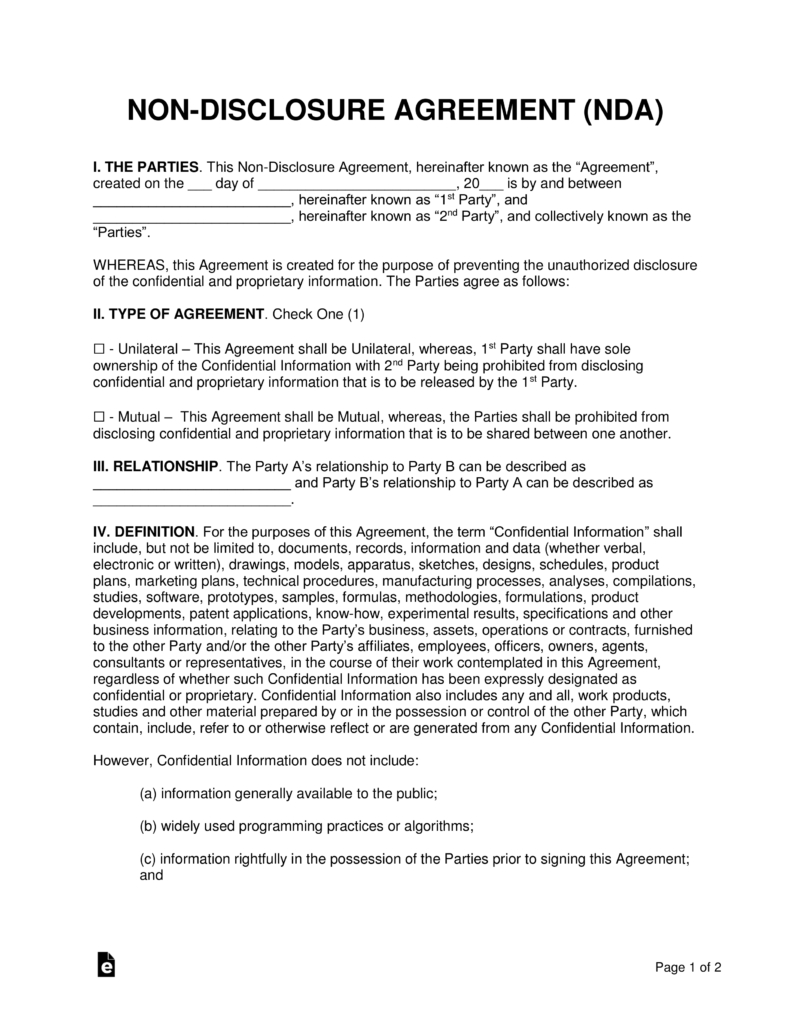 Non-Disclosure (Nda) Agreement Templates | Eforms – Free Fillable Forms - Free Printable Non Disclosure Agreement Form