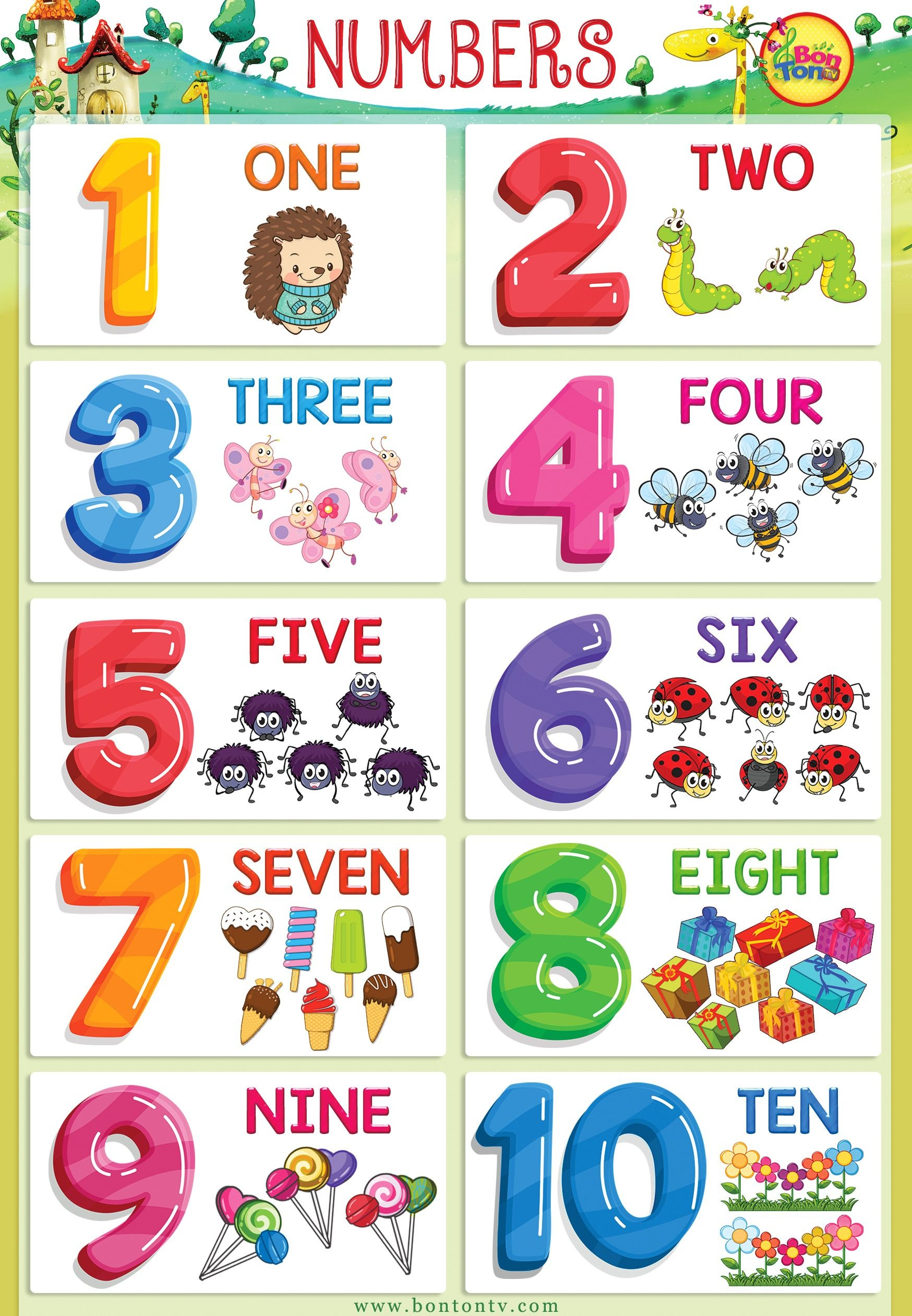 Numbers Poster - Numbers 1-10 For Kids - Math - Printable Flash Card - Free Printable Ged Flashcards