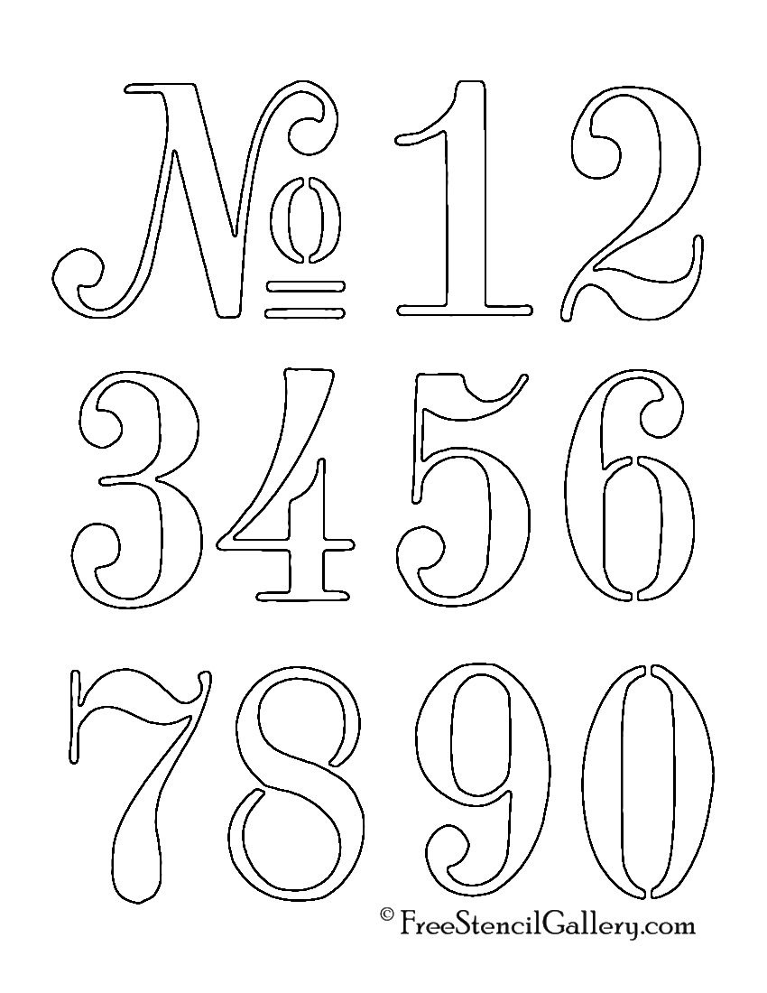 Numbers Stencil… | A & 1 | Stencils, Stencil Font, Lettering - Free Printable Number Stencils