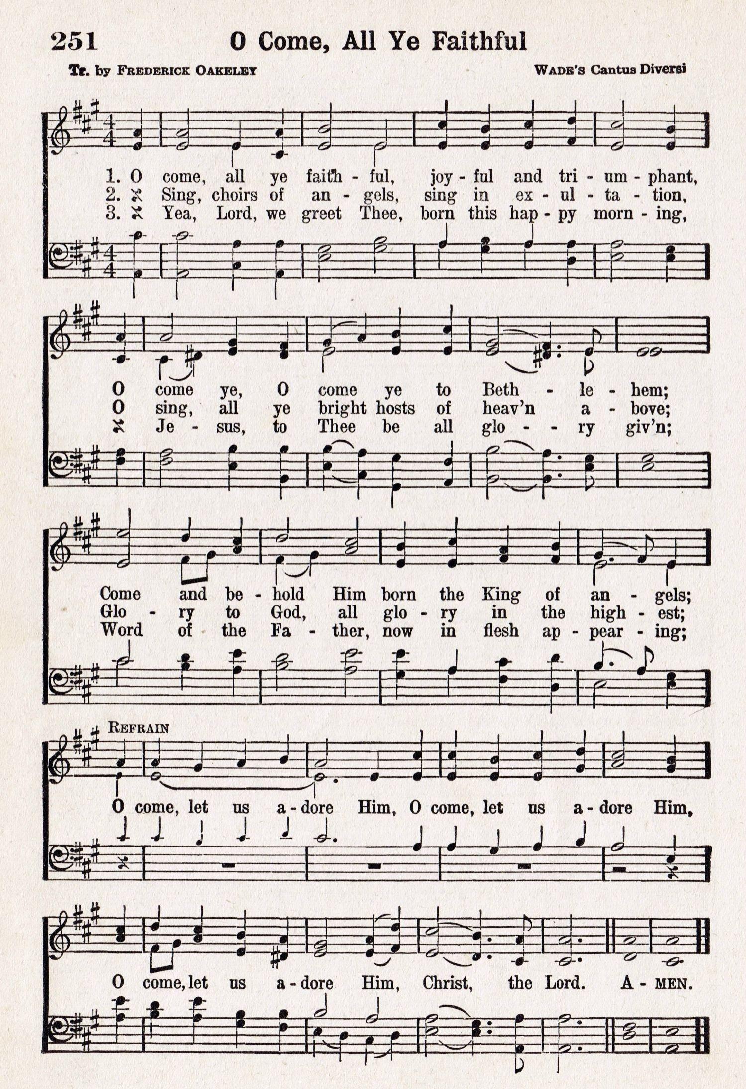 O Come, All Ye Faithful – Printable Antique Christmas Music Page - Free Printable Lyrics To Christmas Carols