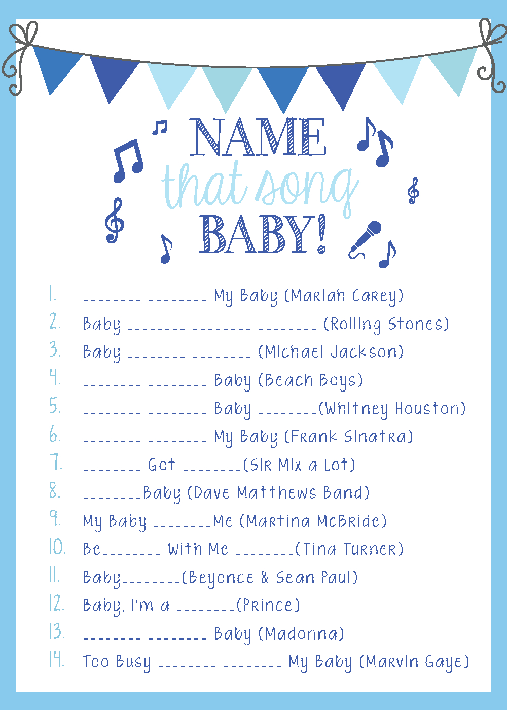 On My Side Of The Room: Name That Tune: The Baby Shower Game | Baby - Name That Tune Baby Shower Game Free Printable