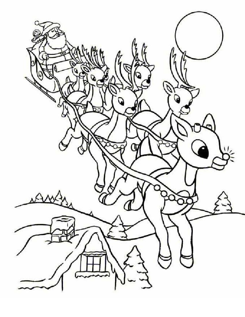 Online Rudolph And Other Reindeer Printables And Coloring Pages - Free Printable Christmas Cartoon Coloring Pages