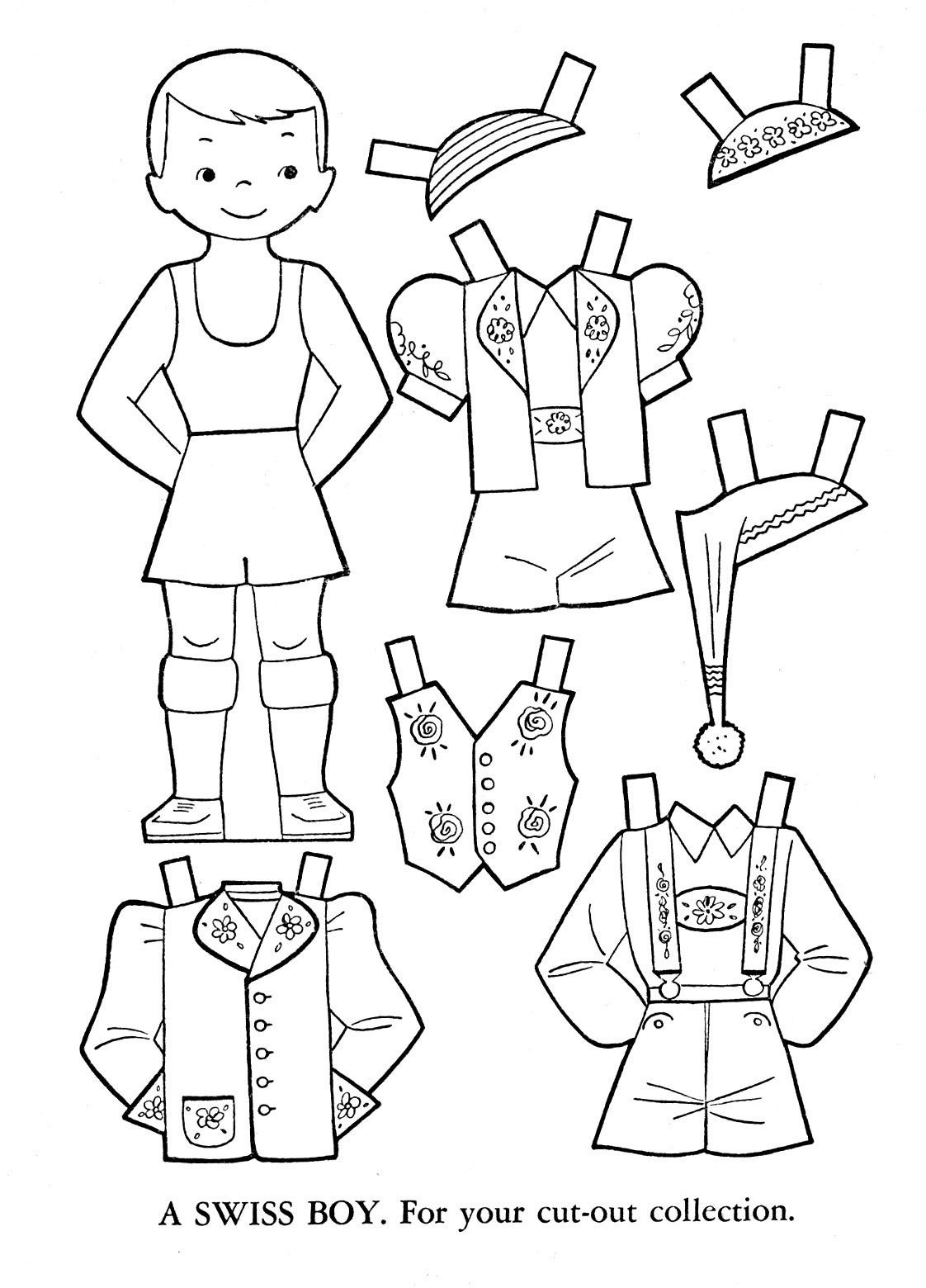 Outlines Of Dress Up Dolls Different Colountries | Paper Doll Black - Free Printable Paper Dolls From Around The World