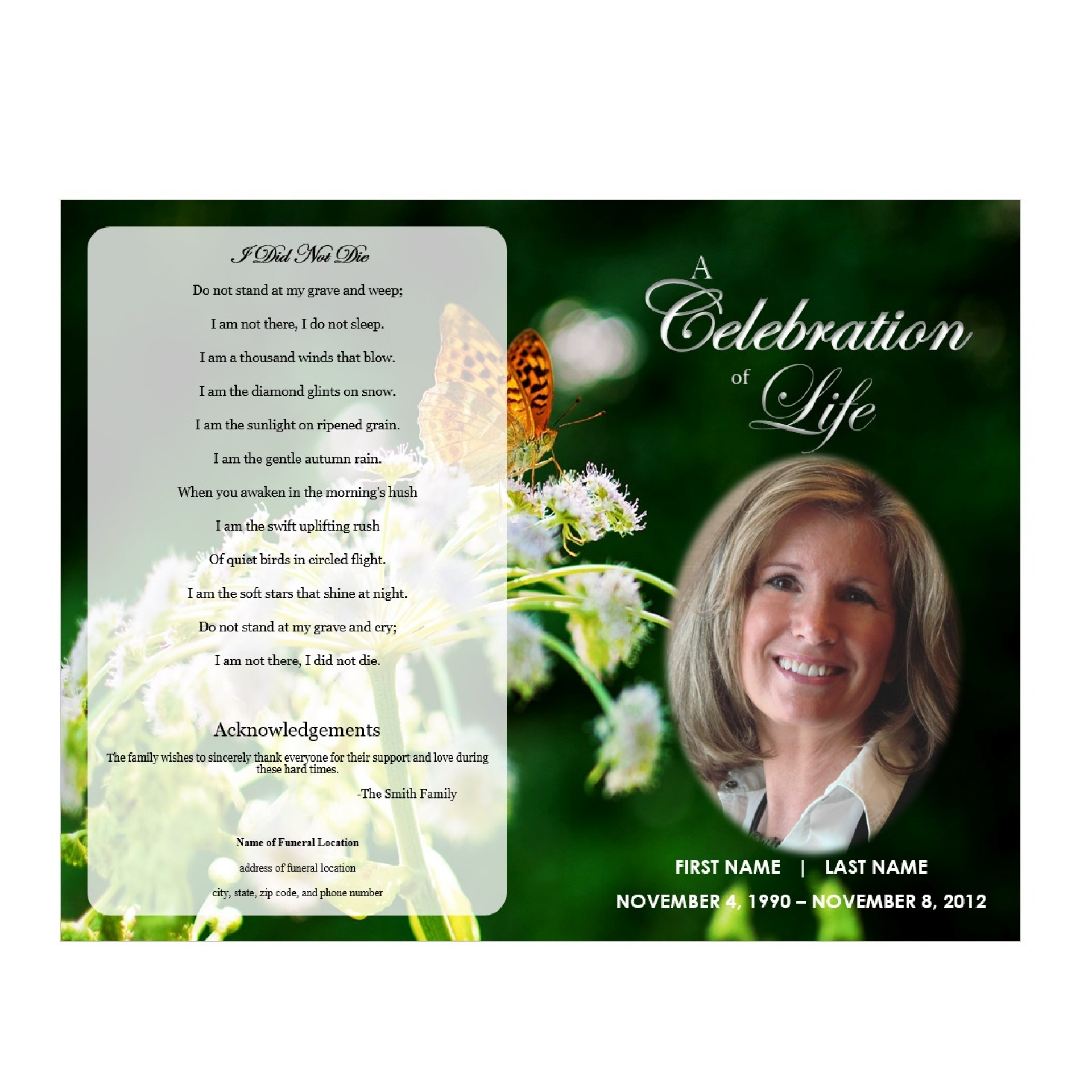 Outstanding Free Funeral Programs Template Download Ideas Program - Free Printable Funeral Programs