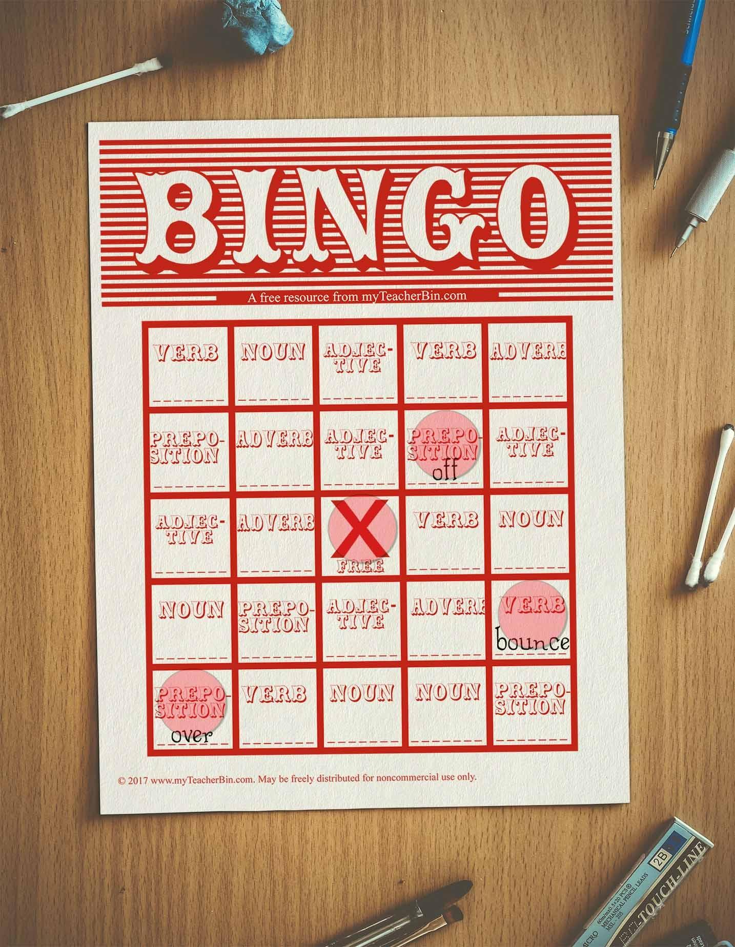 Parts Of Speech Bingo - Myteacherbin - Free Printable Parts Of Speech Bingo