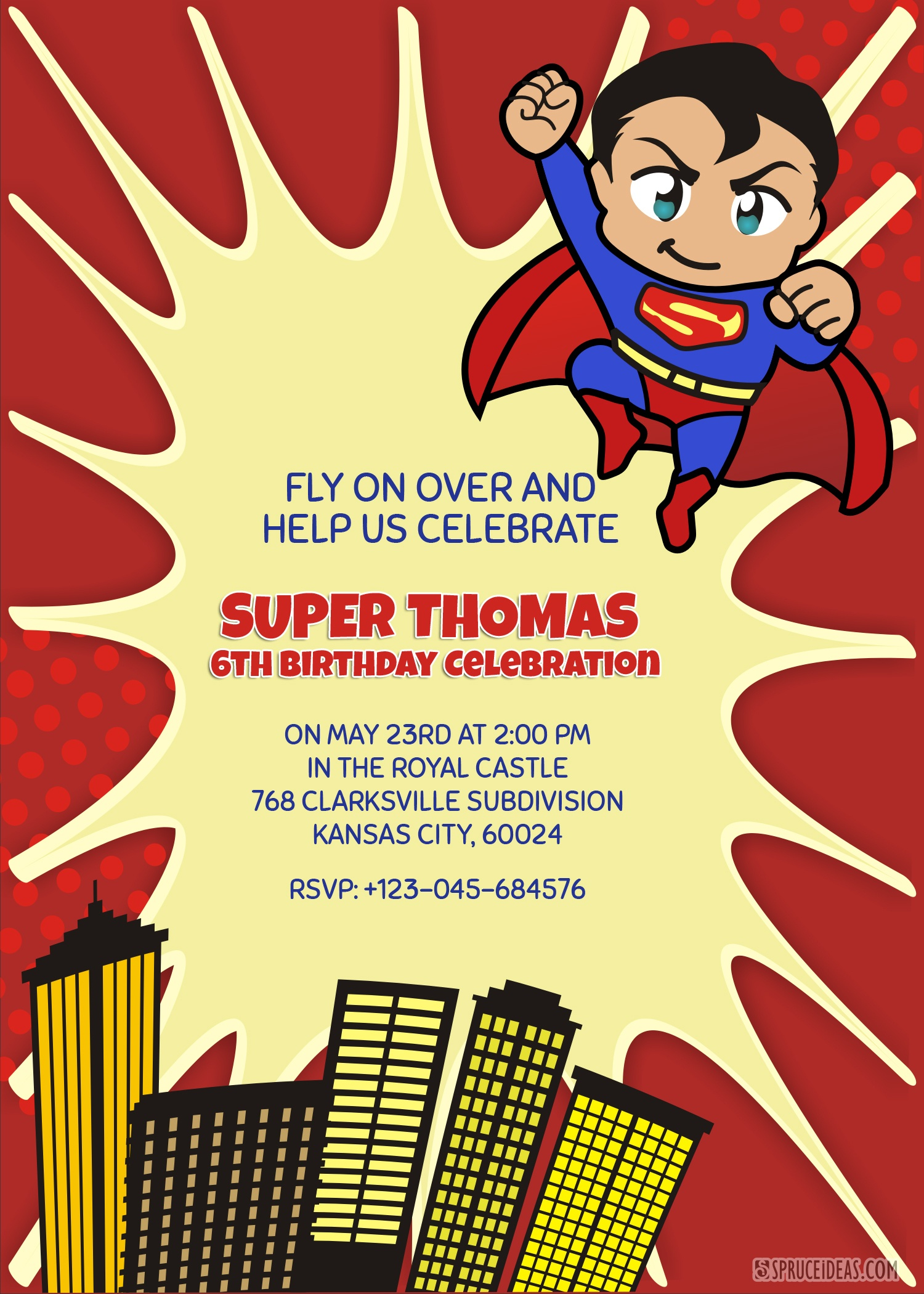 Personalized Superhero Superman Birthday Invitation Template - Free Printable Superman Invitations