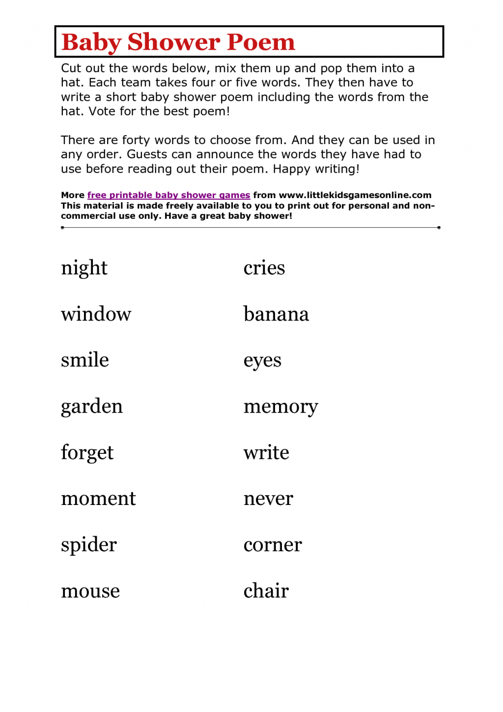 Photo : Baby Shower Poem Printable Image - Free Baby Shower Games Printable Worksheets
