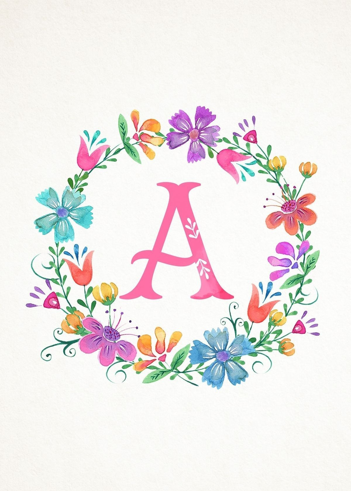 Pinamarilys Annoni-Mendez On Iphone Wallpapers | Watercolor - Free Printable Flower Letters