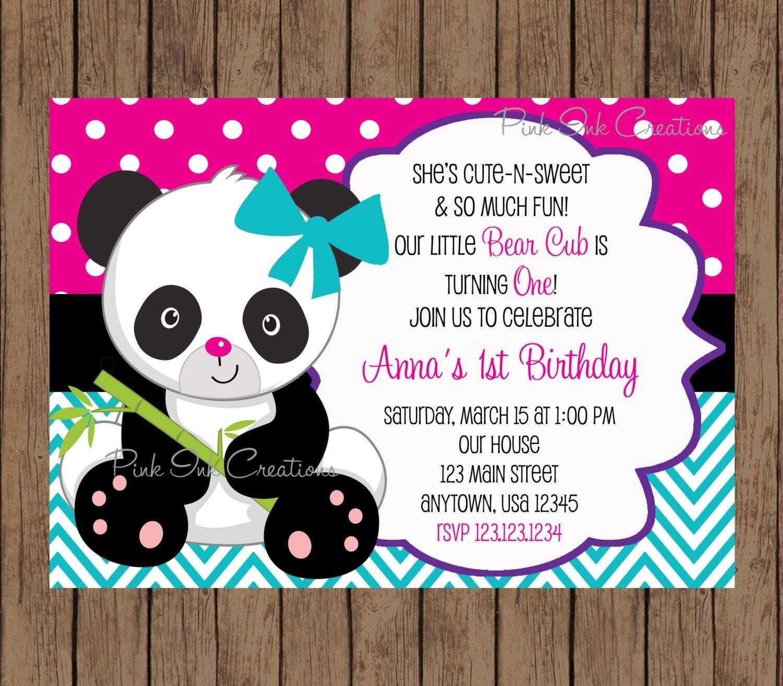 Pindalila Medina-Rangel On Isa's Birthday | Boy Birthday - Panda Bear Invitations Free Printable