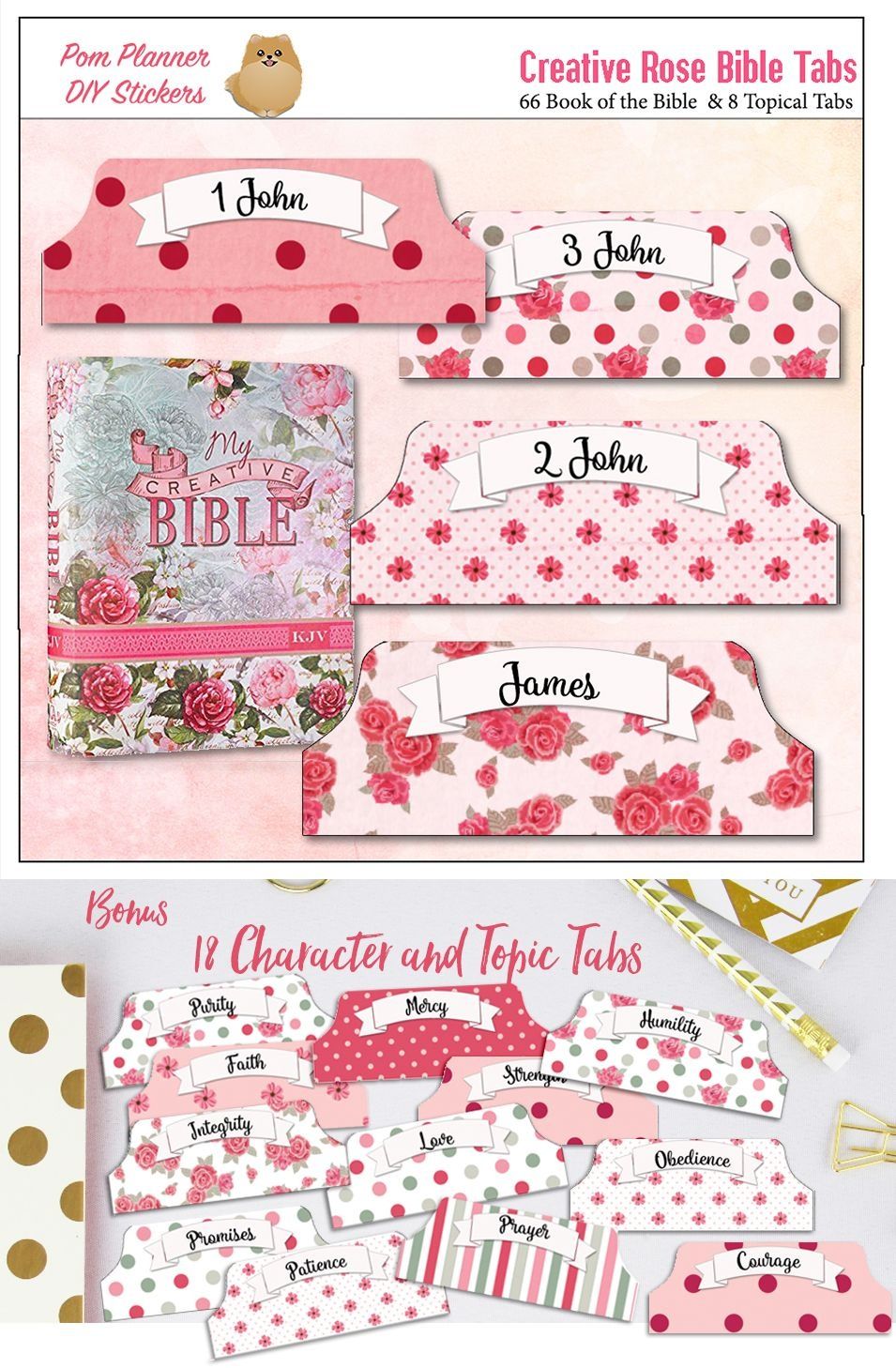 Pink Printable Creative Rose Bible Tabs For Bible Journalling / 66 - Free Printable Books Of The Bible Tabs