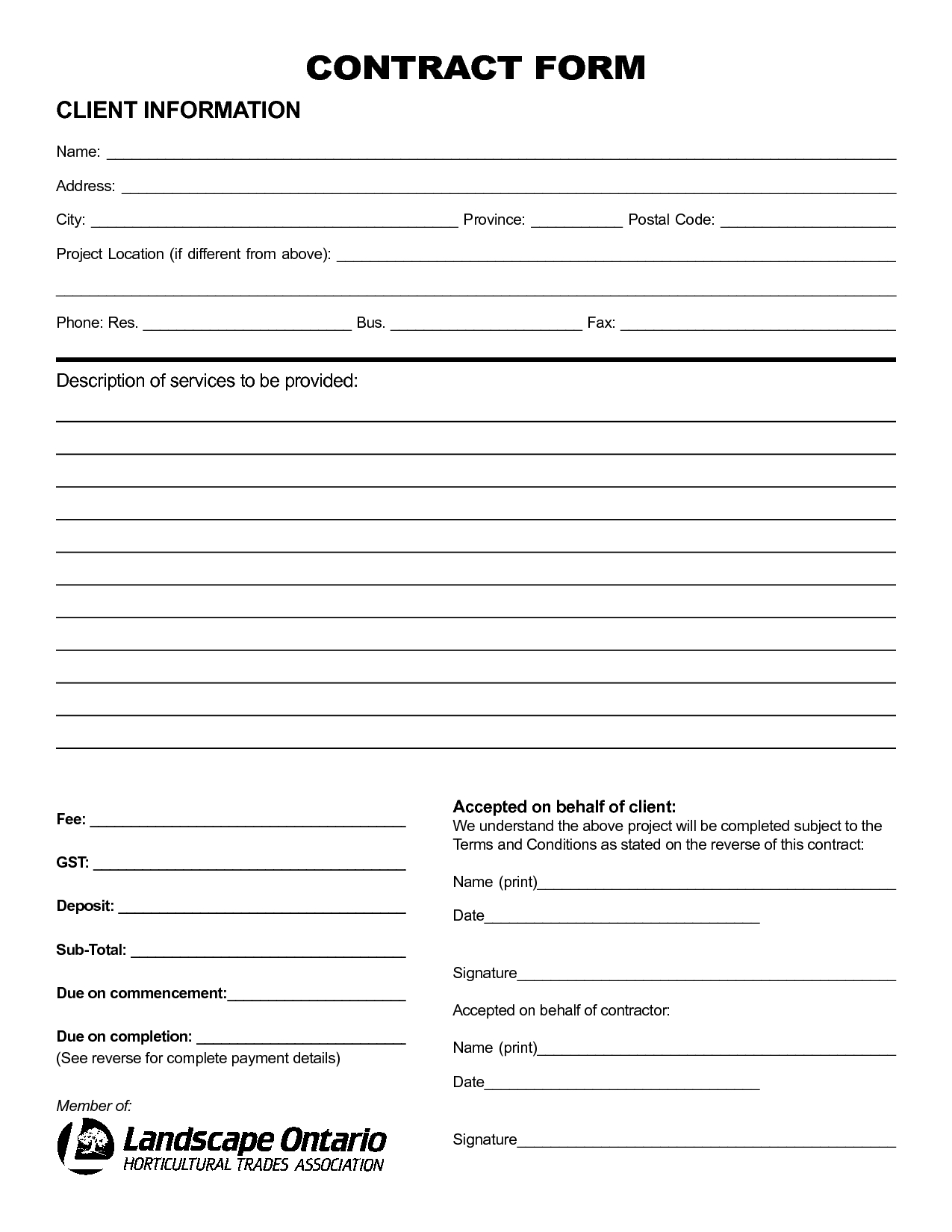 Pinlisa R On Landscaping Business   Construction Contract - Free Printable Service Contract Forms