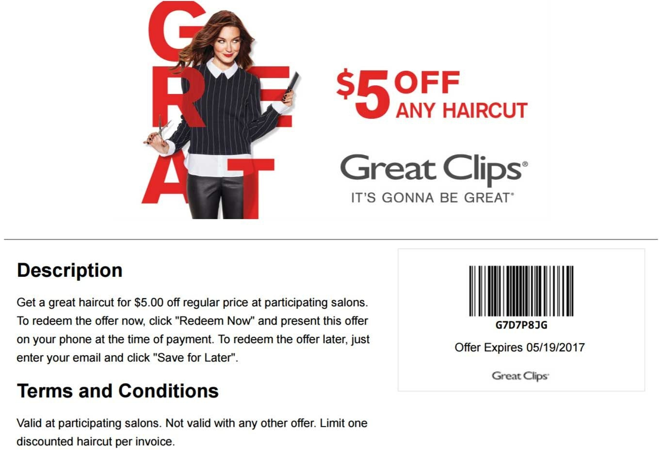 Pinned April 27Th: $5 Off A Haircut At #greatclips #coupon Via The - Sports Clips Free Haircut Printable Coupon