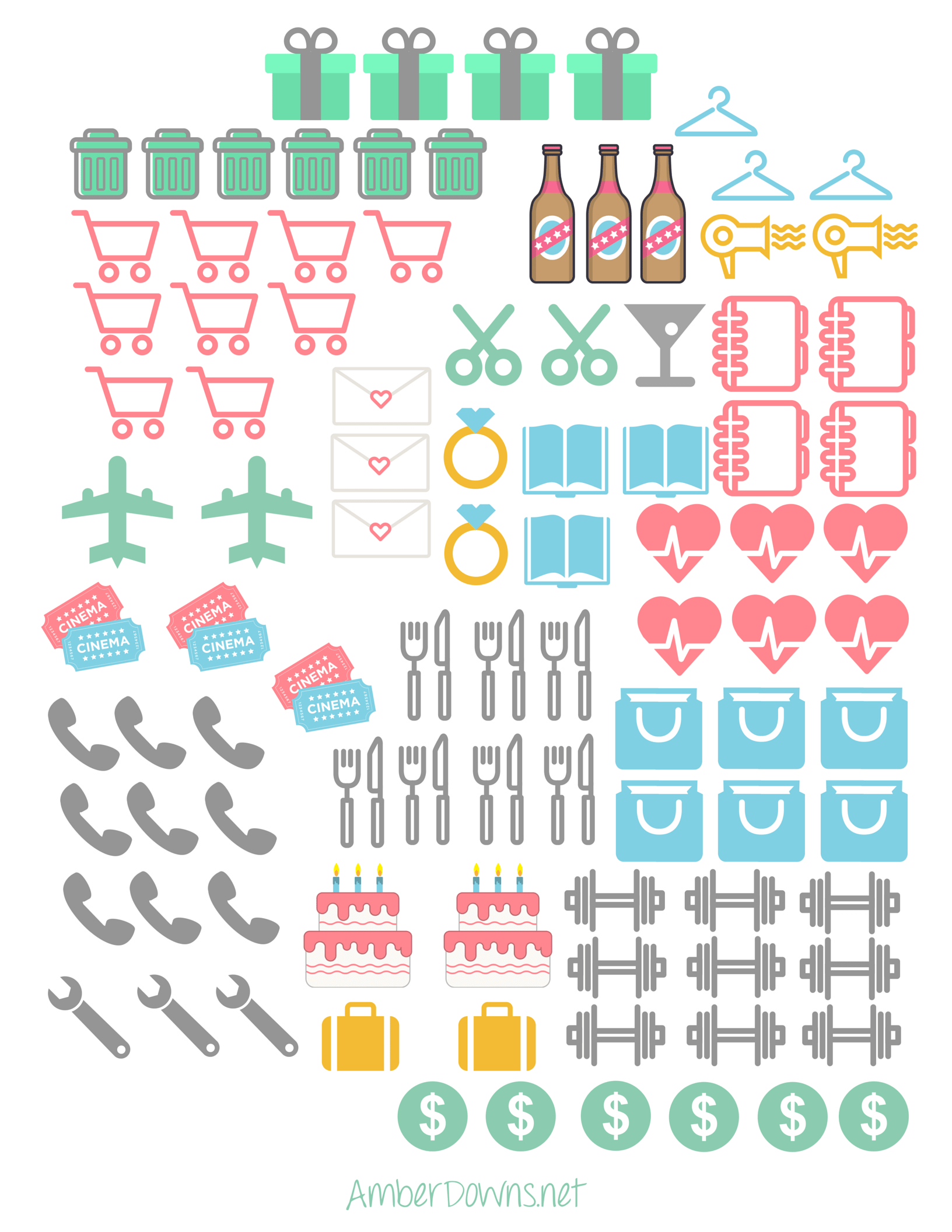 Planner Icon Stickers- Free Printables For Happy Planner And Sil - Free Printable Stickers