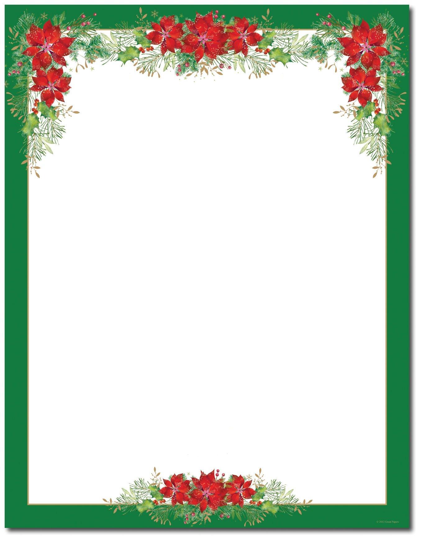 Poinsettia Valance Letterhead | Holiday Papers | Christmas Border - Free Printable Christmas Border Paper