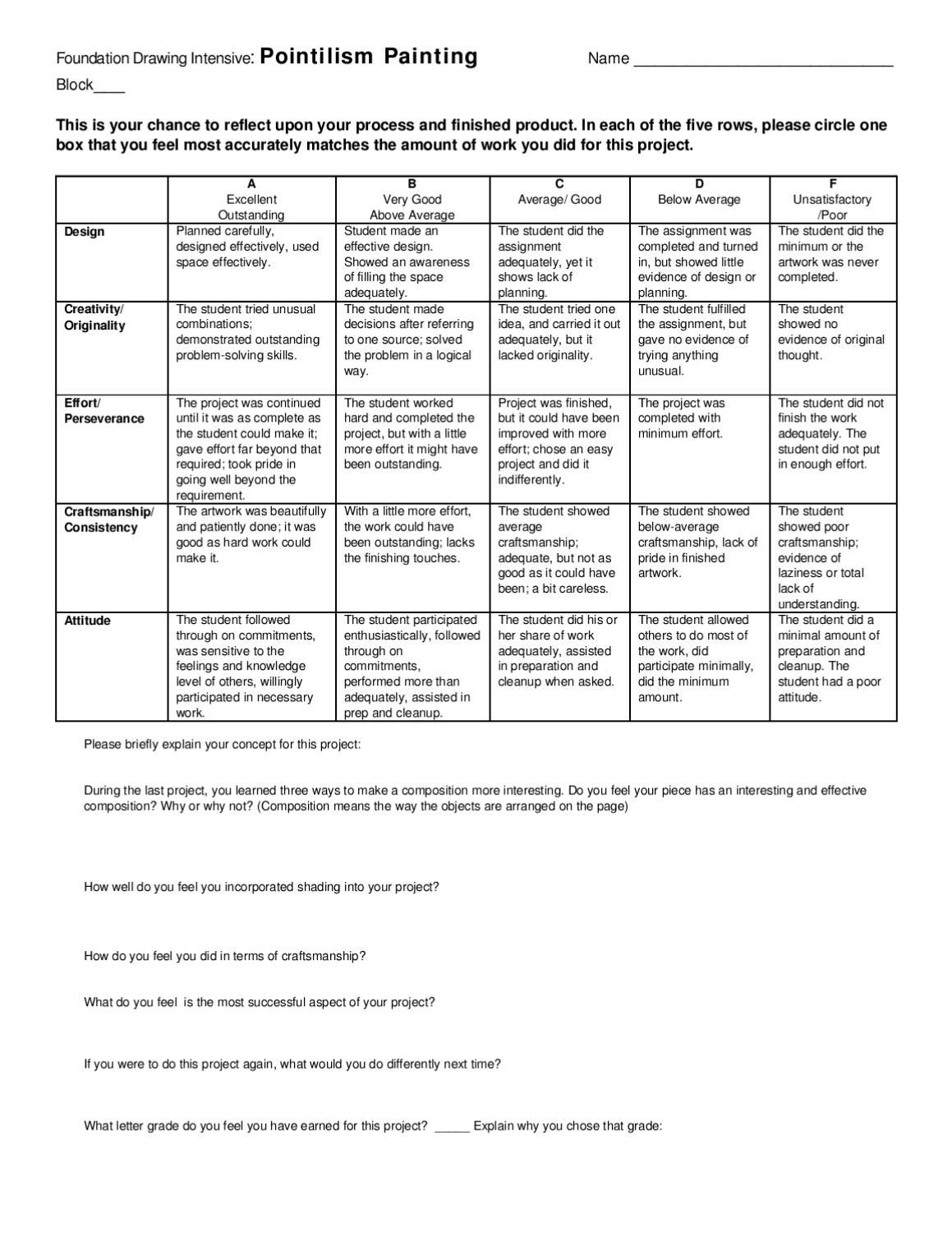 Pointillism Project Rubric | Lesson Planning | Pointillism, Art - Free Printable Art Rubrics