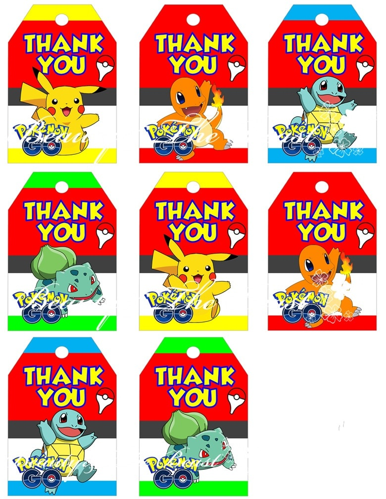 Pokemon Go Favor Tags, Pokemon Go Thank You Tags, Pokemon Go Gift - Free Printable Pokemon Thank You Tags