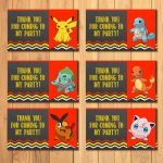 Pokemon Party Tags Chalkboard * Pokemon Goody Bag Tags * Pokemon   Free Printable Pokemon Thank You Tags