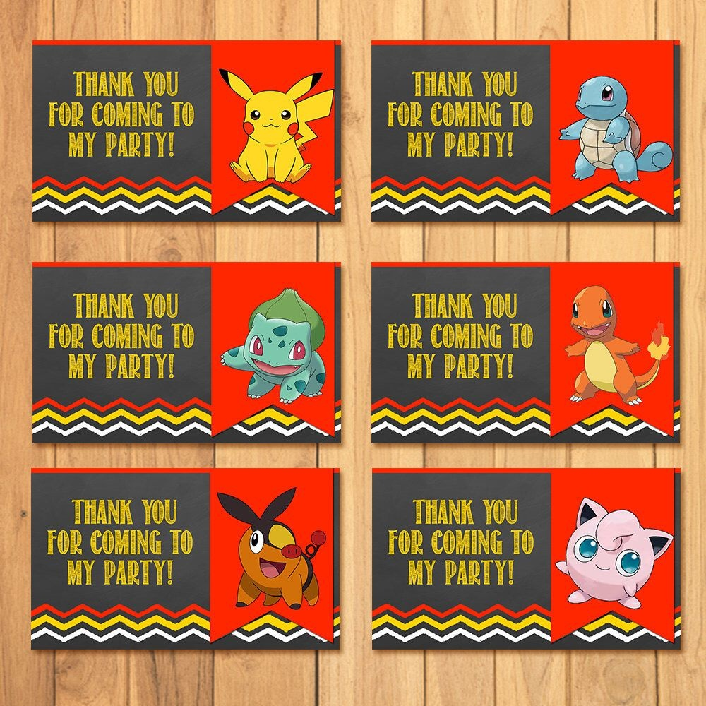 Pokemon Party Tags Chalkboard * Pokemon Goody Bag Tags * Pokemon - Free Printable Pokemon Thank You Tags