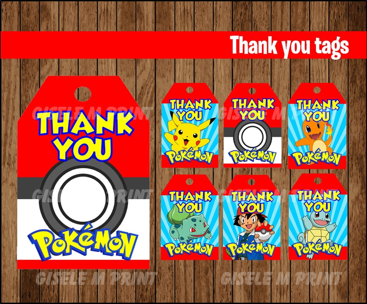 Pokemon Thank You Tags Printable Pokemon Gift Tags Pokemon | Etsy - Free Printable Pokemon Thank You Tags