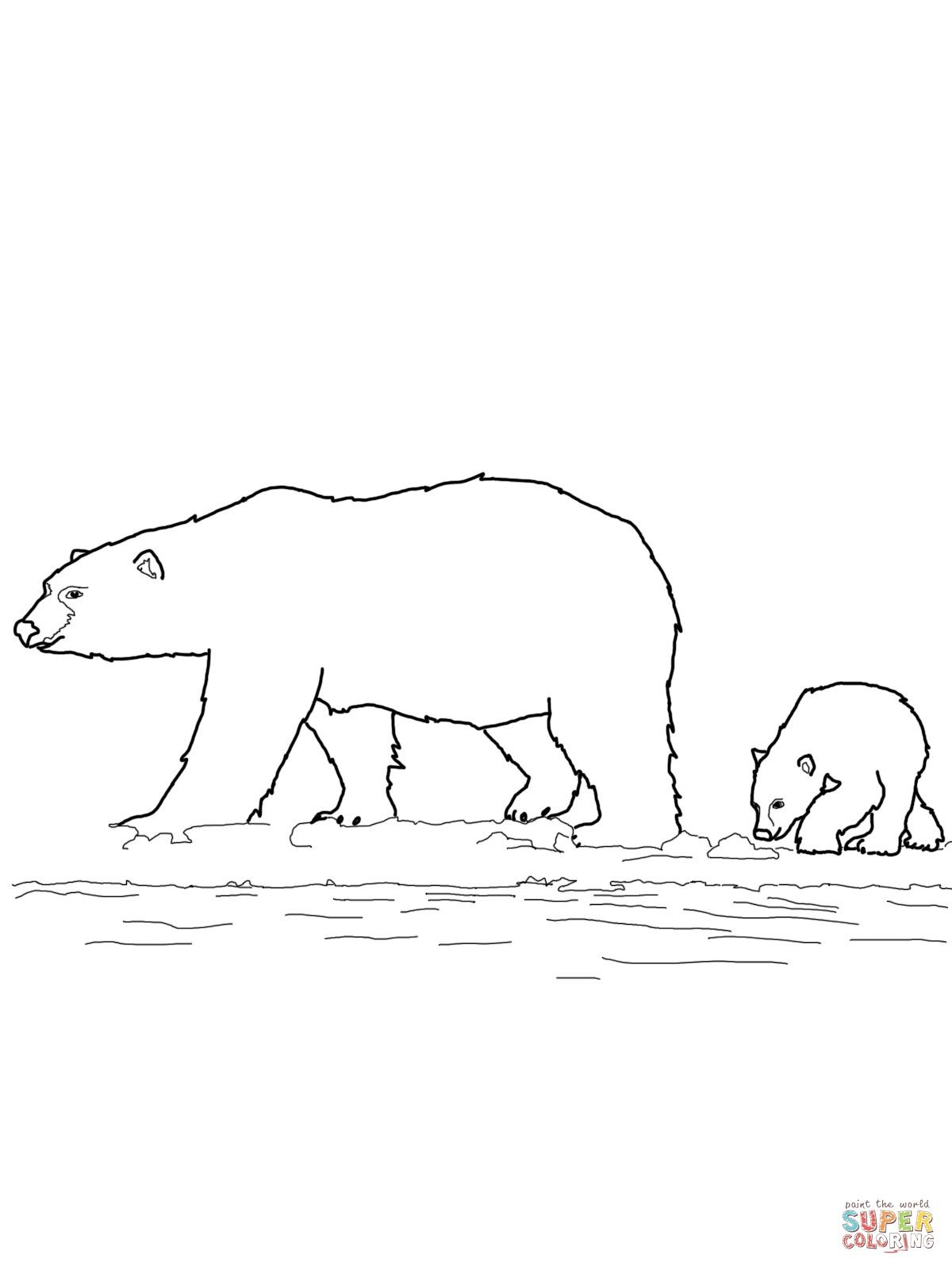 Polar Bears Family Coloring Page | Supercoloring | Handy Ideas - Polar Bear Printable Pictures Free