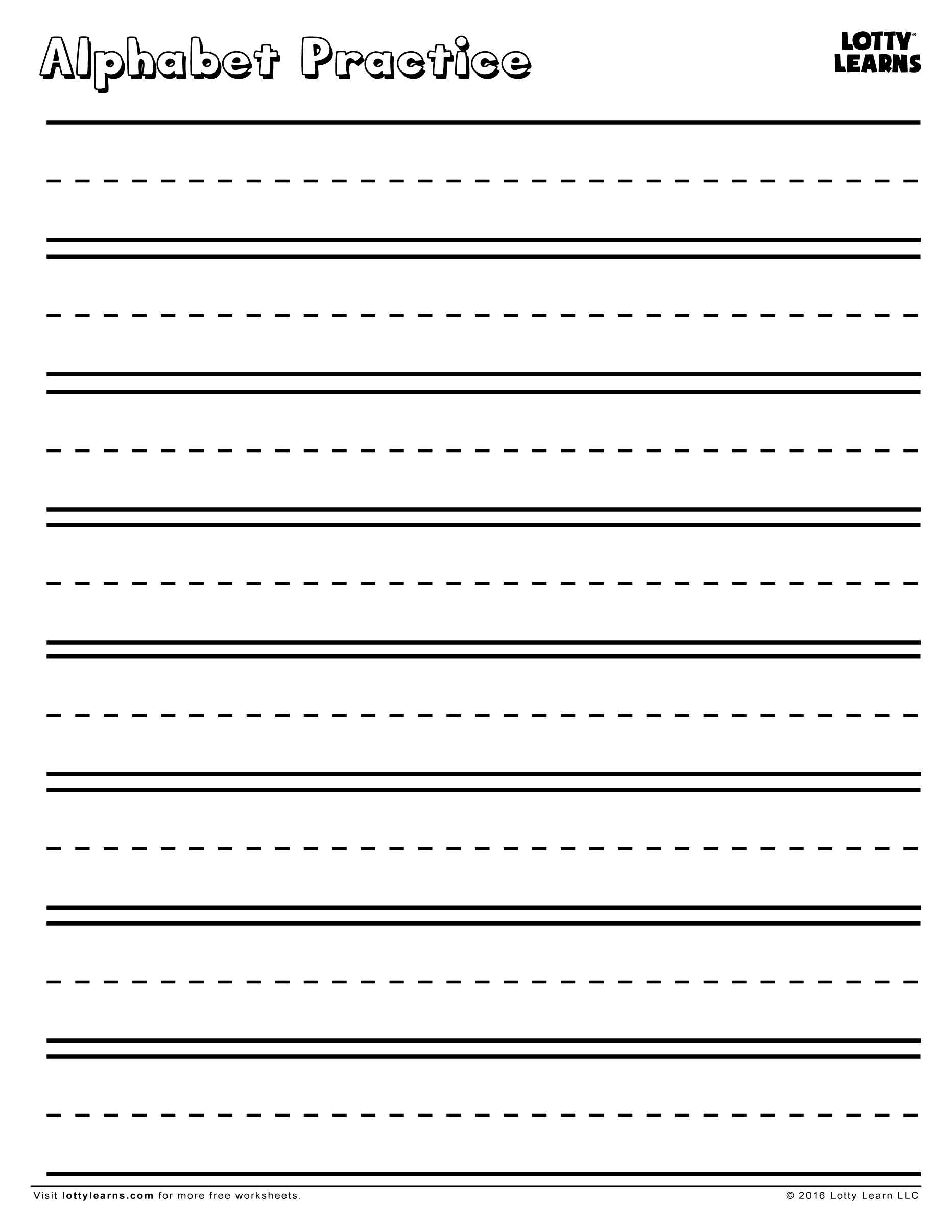 Practice Makes Perfect! Blank Alphabet Practice Sheet   Lotty Learns - Blank Handwriting Worksheets Printable Free