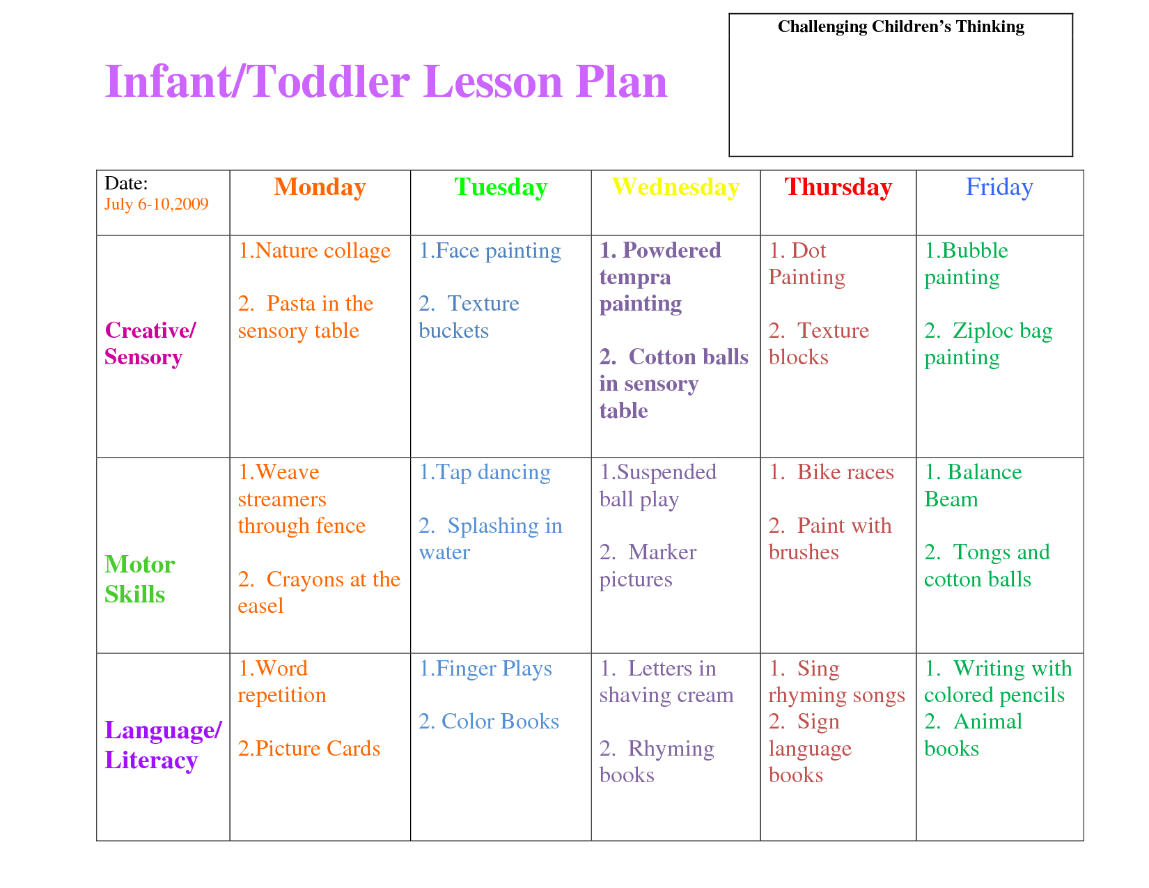 Preschool Curriculum Themes   Toddler Lesson Plan Template - Free Printable Lesson Plans For Toddlers