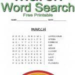 Preschool March Word Search ~ Free Printable | Free Printables   Free Printable March Activities