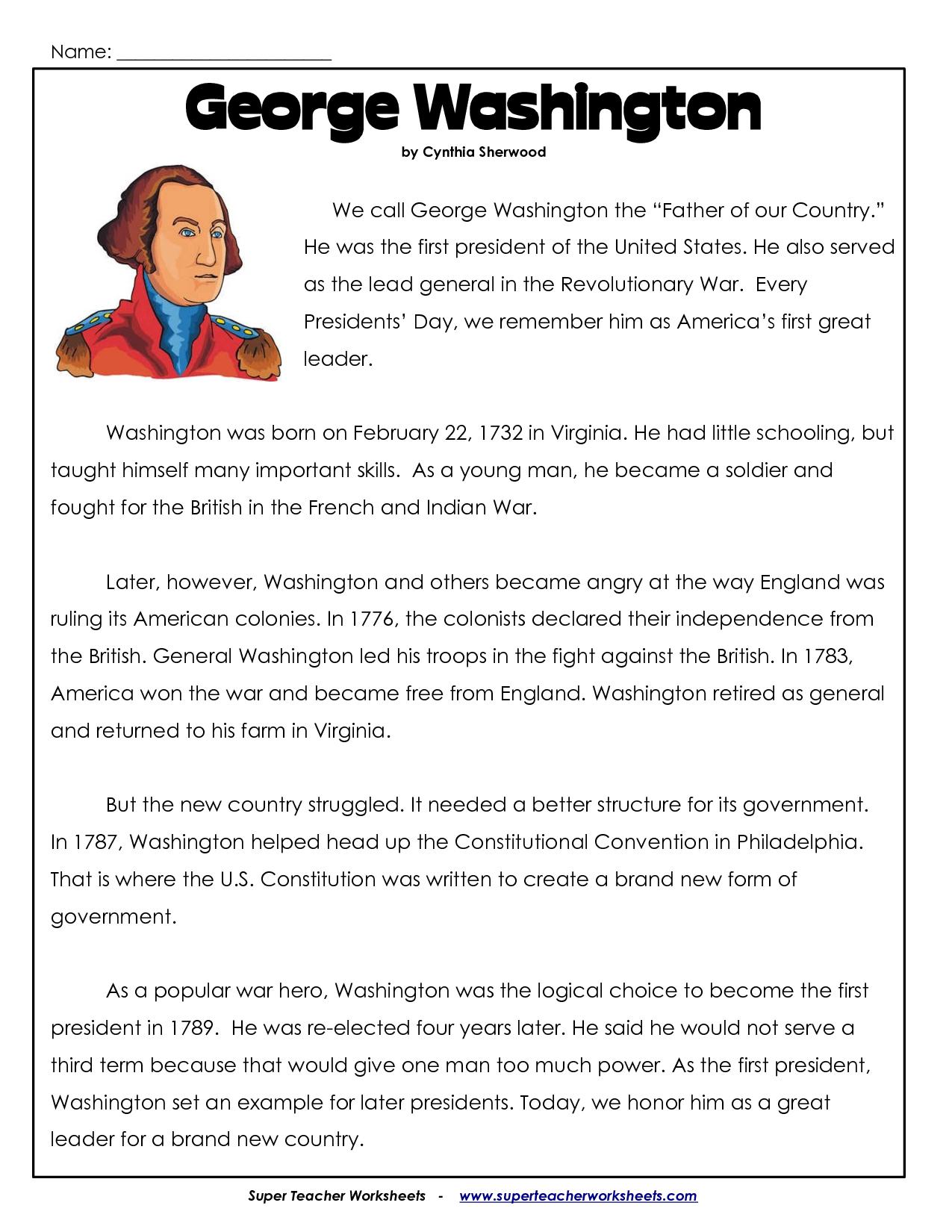 President's Day Coloring Worksheet | George Washington Worksheets - Free Printable George Washington Worksheets