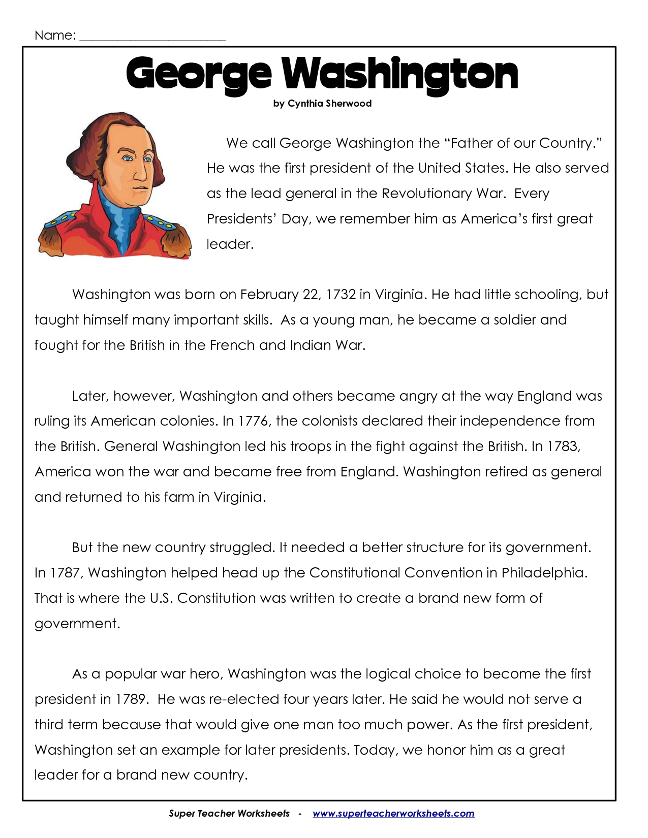 President's Day Coloring Worksheet | George Washington Worksheets - Free Printable President Worksheets