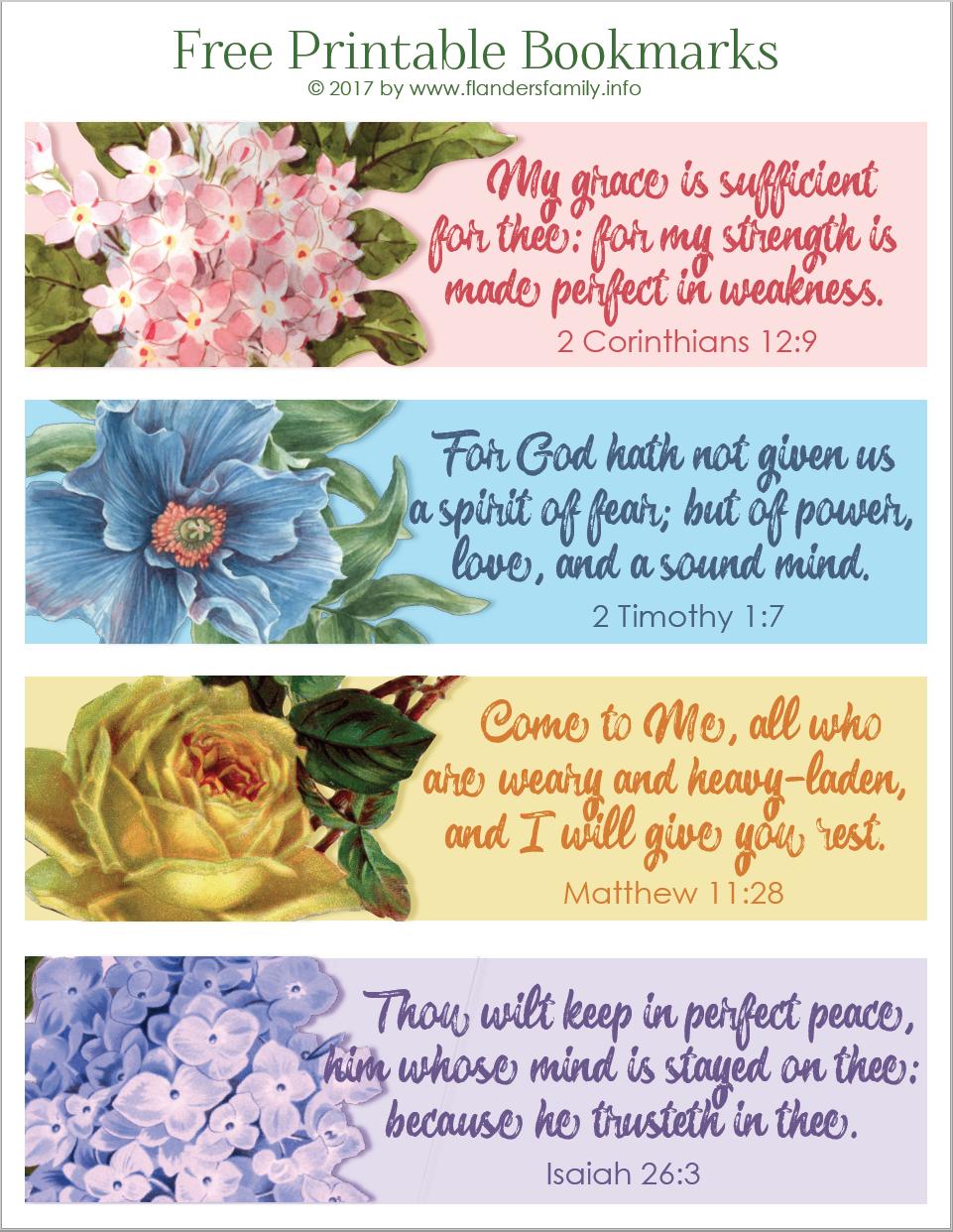 Pretty Printable Scripture Bookmarks - Flanders Family Homelife - Free Printable Inspirational Bible Verses