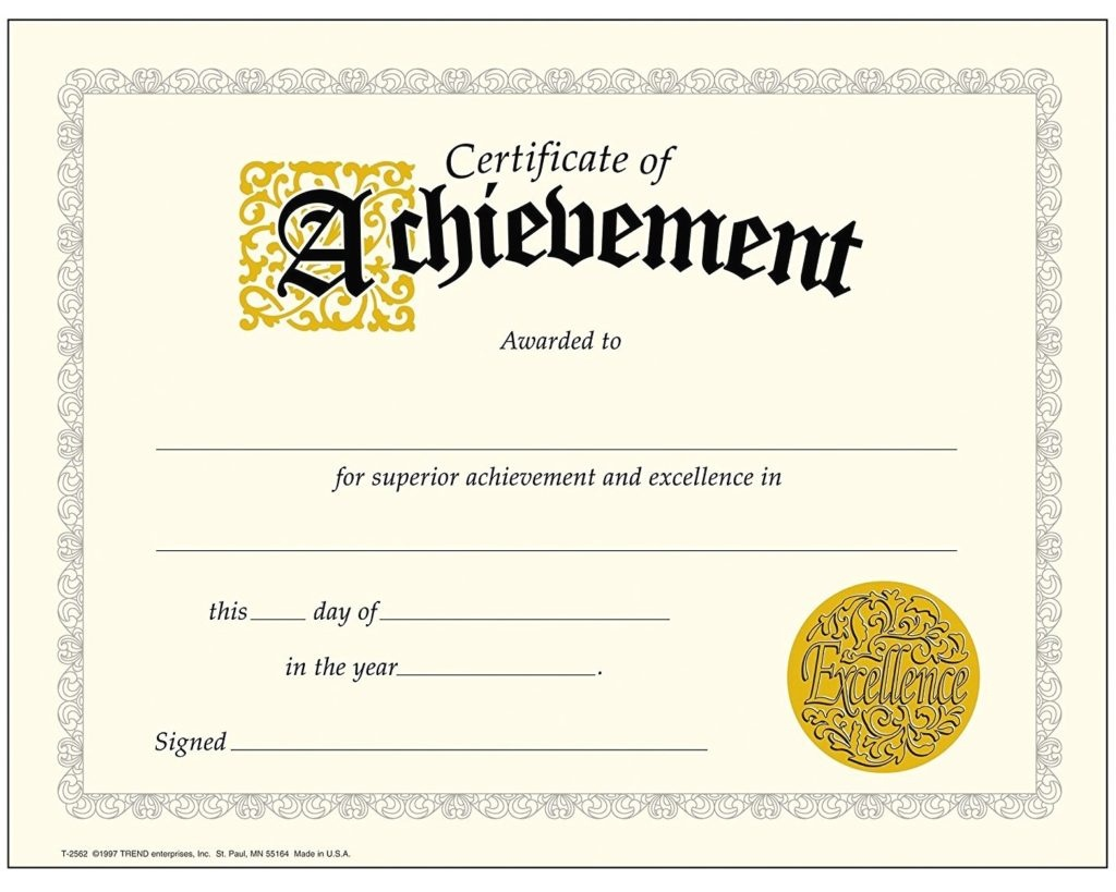 Printable Achievement Certificates | Certificate Templates - Free Printable Certificates Of Accomplishment
