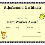 Printable Achievement Certificates Kids | Hard Worker Achievement   Free Customizable Printable Certificates Of Achievement