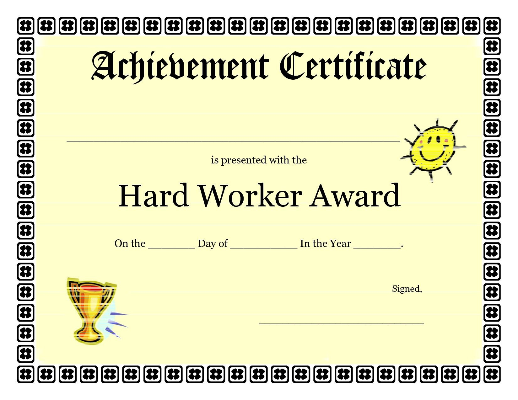 Printable Achievement Certificates Kids | Hard Worker Achievement - Free Printable Honor Roll Certificates Kids